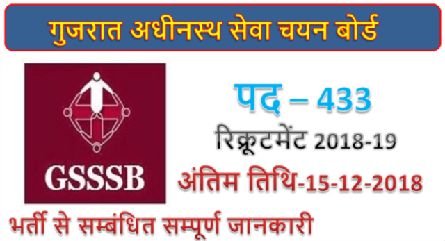 GSSSB Recruitment | 433 Sub Inspector posts
