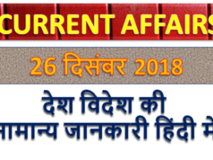 26 december 2018 current affairs   Gk today   Gk question