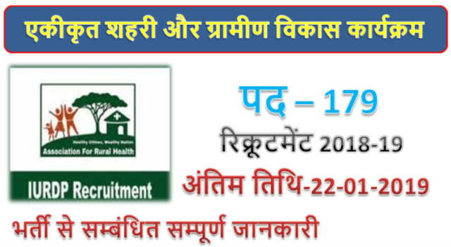 IURDP recruitment 2018 | 179 Clerk posts
