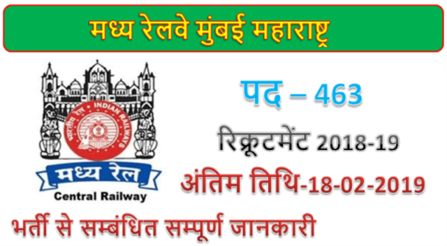 Central Railway 463 JE Station Master & Other Jobs