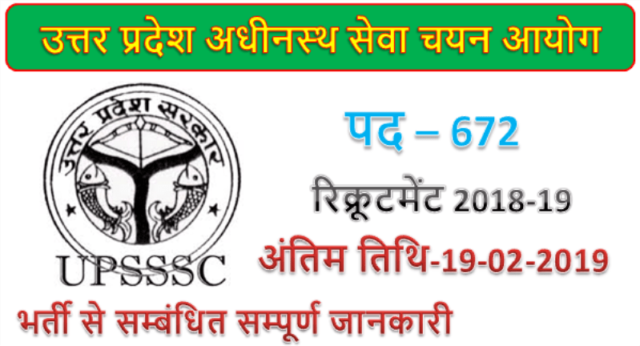 Upsssc recruitment 2019 | 672 Supply Inspector & Marketing Inspector Jobs