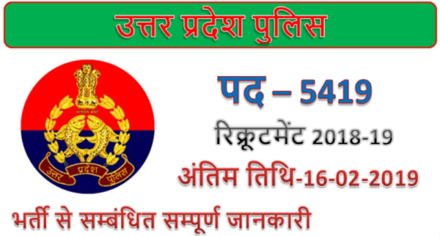 UP Police Recruitment 2019 | 5419 Fireman Jail Warder Jobs