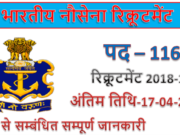 Indian Navy Recruitment 2019 | 116 Fireman & other Jobs