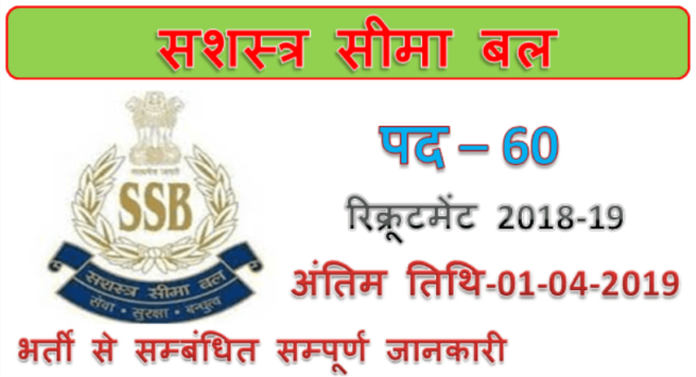 SSB Recruitment 2019 | 60 SI GD Jobs