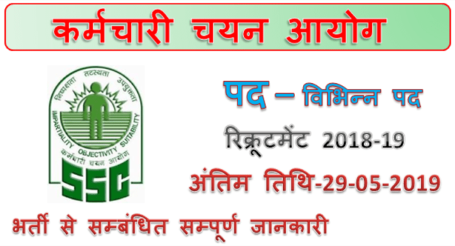 Ssc recruitment 2019 | Various Multi Tasking Staff Jobs