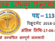 AIIMS Jodhpur Recruitment 2019 | 113 Senior Resident Jobs