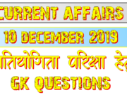 10 December 2019 current affairs