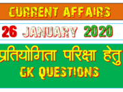 26 January 2020 Current affairs