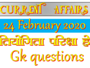 24 February 2020 Current affairs
