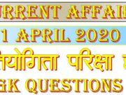 1 April 2020 Current affairs