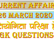 26 March 2020 Current affairs