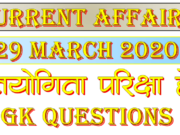 29 March 2020 Current affairs