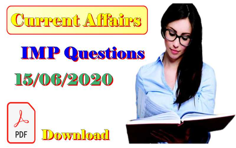 15 June 2020 Current affairs in Hindi