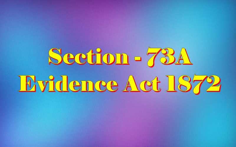 Section 73A of Indian Evidence Act