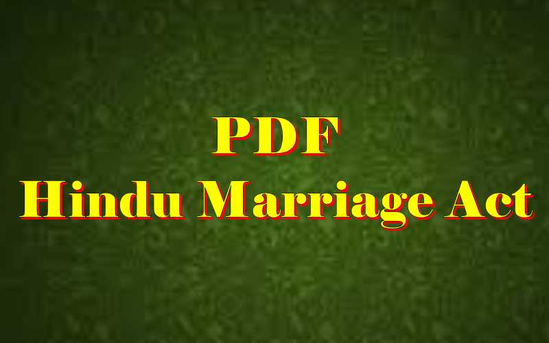 Hindu Marriage Act PDF