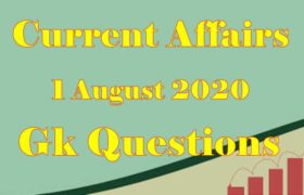 1 August 2020 Current affairs in Hindi