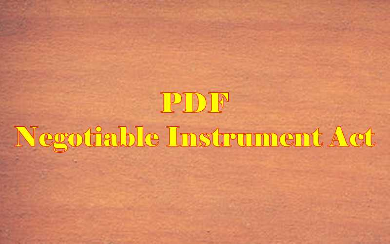 Negotiable Instrument Act PDF