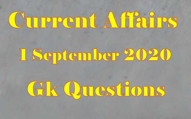 1 September 2020 Current affairs in Hindi