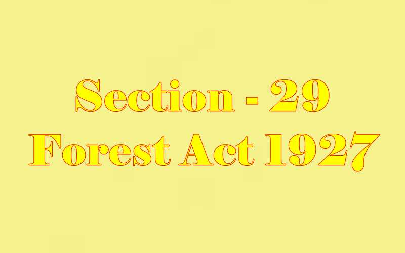 Section 29 of Indian Forest Act in Hindi