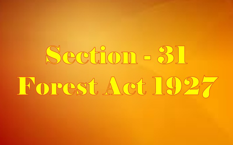Section 31 of Indian Forest Act in Hindi