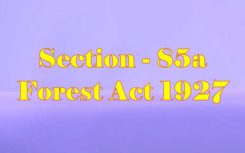 Section 85a of Indian Forest Act in Hindi