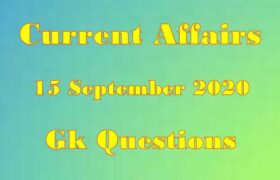 15 September 2020 Current affairs in Hindi