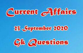 23 September 2020 Current affairs in Hindi
