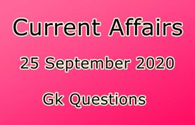 25 September 2020 Current affairs in Hindi