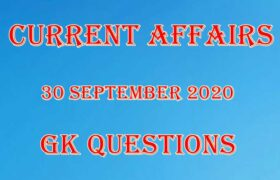 30 September 2020 Current affairs in Hindi