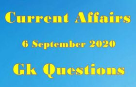 6 September 2020 Current affairs in Hindi