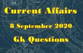 8 September 2020 Current affairs in Hindi