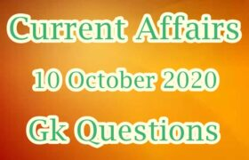 10 October 2020 Current affairs in Hindi