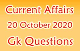 20 October 2020 Current affairs in Hindi