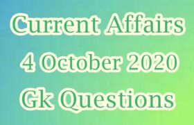 4 October 2020 Current affairs in Hindi
