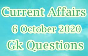 6 October 2020 Current affairs in Hindi