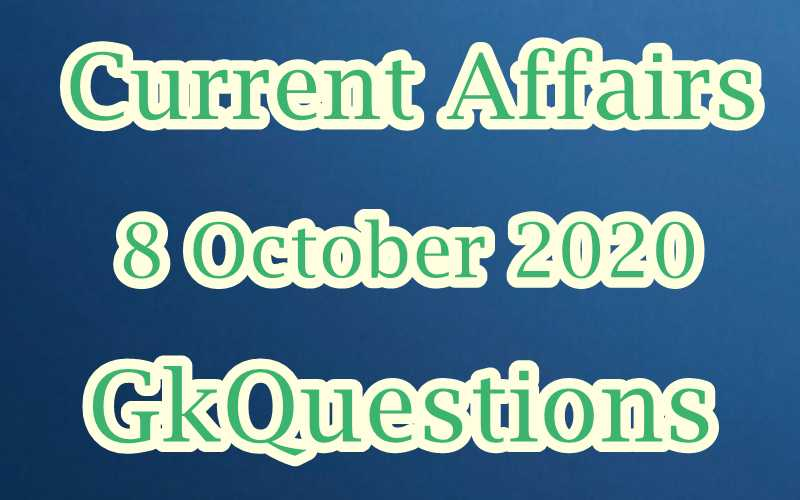8 October 2020 Current affairs in Hindi