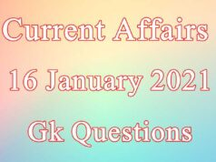 16 January 2021 Current affairs in Hindi