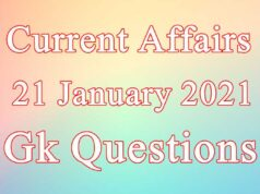 21 January 2021 Current affairs in Hindi