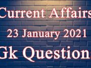 23 January 2021 Current affairs in Hindi