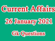 26 January 2021 Current affairs in Hindi