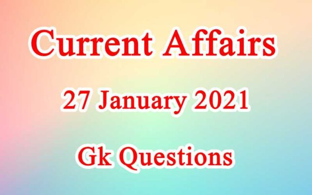 27 January 2021 Current affairs in Hindi