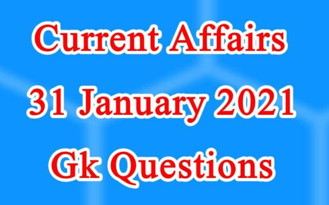 31 January 2021 Current affairs in Hindi