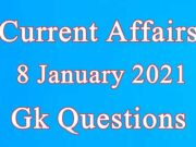 8 January 2021 Current affairs in Hindi