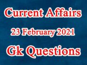 23 February 2021 Current affairs in Hindi