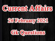26 February 2021 Current affairs in Hindi