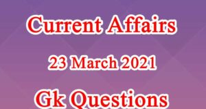 23 March 2021 Current affairs in Hindi