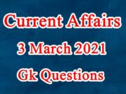 3 March 2021 Current affairs in Hindi