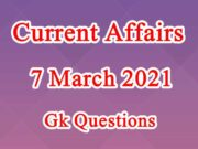 7 March 2021 Current affairs in Hindi