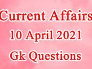 10 April 2021 Current affairs in Hindi