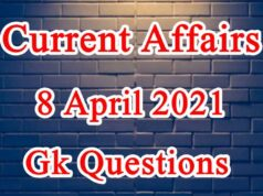8 April 2021 Current affairs in Hindi